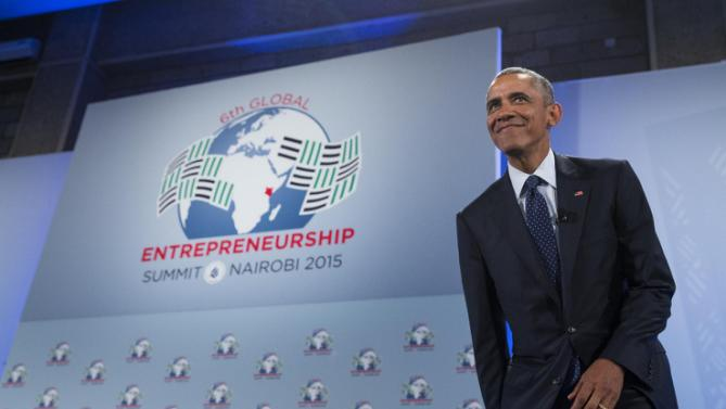 President Barack Obama smiles as he arrives to deliver a speech at the Global Entrepreneurship Summit at the United Nations Compound, Saturday, July 25, 2015, in Nairobi. Obama's visit to Kenya is focused on trade and economic issues, as well as security and counterterrorism cooperation.  (AP Photo/Evan Vucci)