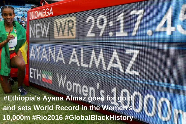 #_Ethiopia_'s Ayana Almaz goes for gold and sets World Record in the Women's 10,000m _#_Rio2016_ _#_GlobalBlackHistory_