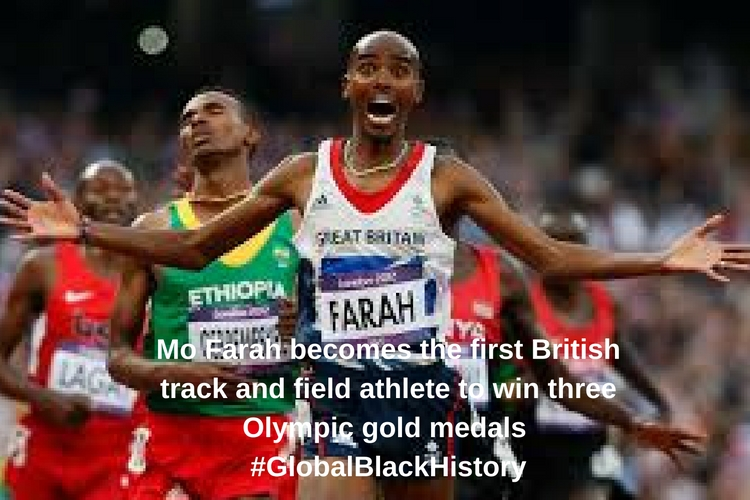 Mo Farah becomes the first British track and field athlete to win three Olympic gold medals _#_GlobalBlackHistory_